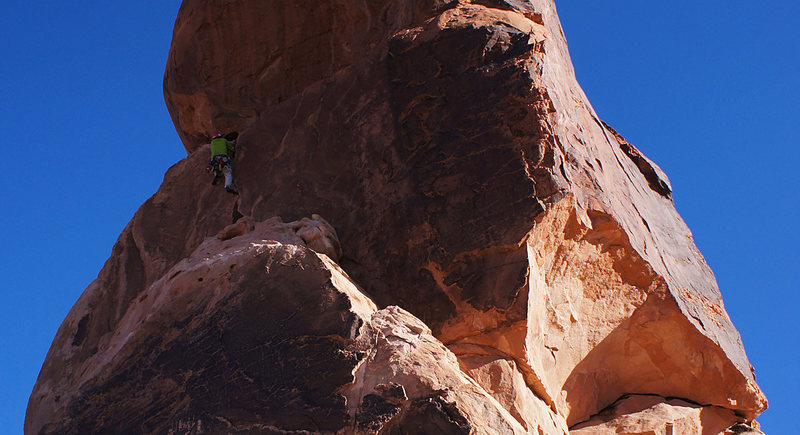 Rock Climbing Photo: Climber on the P1 finger crack.