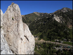 Rock Climbing Photo: Finishing Virga. The start is below the shaded roo...
