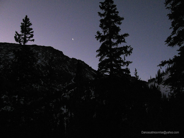 Rock Climbing Photo: Moonrise over Half Moon Pass, winter 2012.