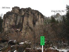 Rock Climbing Photo: area 385 as seen from the road, Mile markers chang...