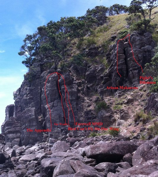 Rock Climbing Photo: Right end of Whiskey Delta area (routes in red)