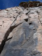 Rock Climbing Photo: Left hand in off-width, clip, stretch for the flak...