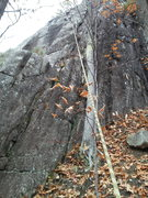 Rock Climbing Photo: Tim Dufrane cleaning on new route...