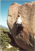 Rock Climbing Photo: High Chaparral (V5).  Easiest way to get to it is ...