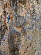 Rock Climbing Photo: Aaron in the fun dihedral-to-arete section of Hold...