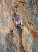 """Rock Climbing Photo: Amy swinging out onto the arete on """"Holding P..."""