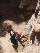 Rock Climbing Photo: Ben starting up Jacob's Ladder.