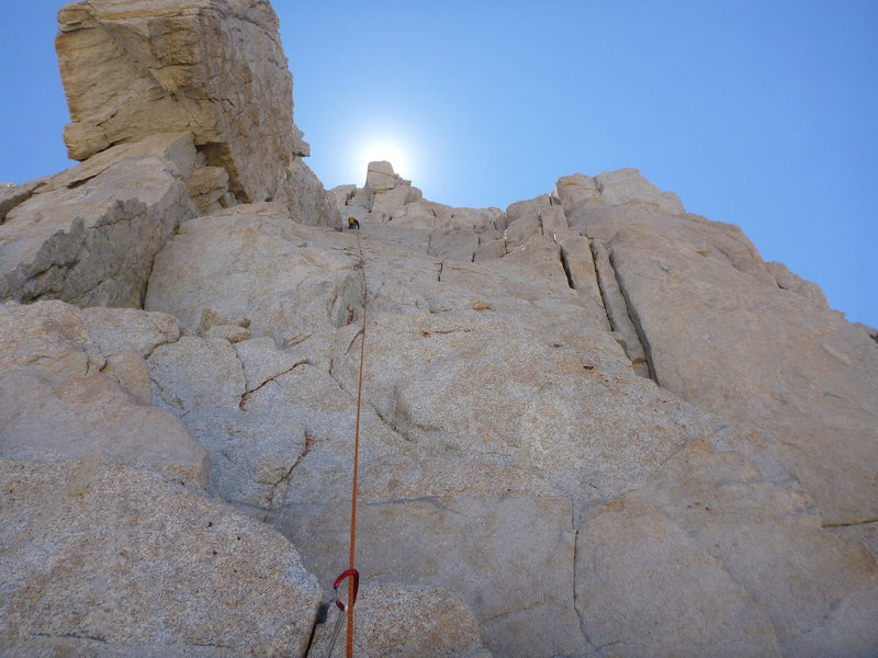 Climbing past peewee block on Pitch 6. We went right of the block@SEMICOLON@ easy climbing