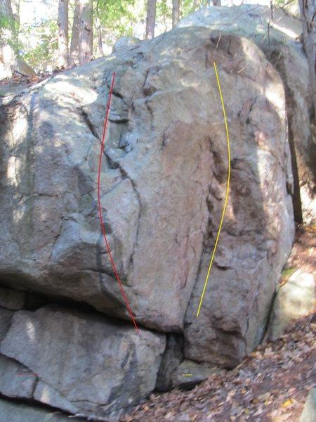 Inside Corner follows the yellow line<br> <br> Outside Corner follows the red line