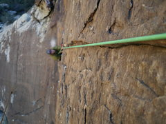 Rock Climbing Photo: Crux Section of p2 between 2-5th bolts.