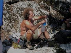 Rock Climbing Photo: Whisky Ken.  This man soloed 5.7 to the ledge alon...