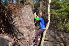 Rock Climbing Photo: Katie towards the top.