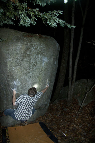 Rock Climbing Photo: The first move, problem goes up and right through ...