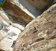 Rock Climbing Photo: Me, climbing up flounder on the right. With the ni...