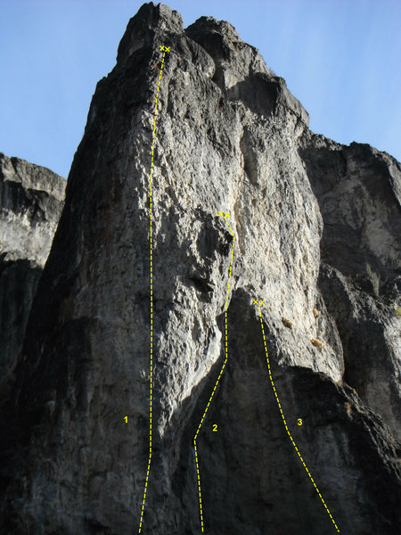 Rock Climbing Photo: 1)pig in a python (11C)  2) hat trick (.11A)  3) t...