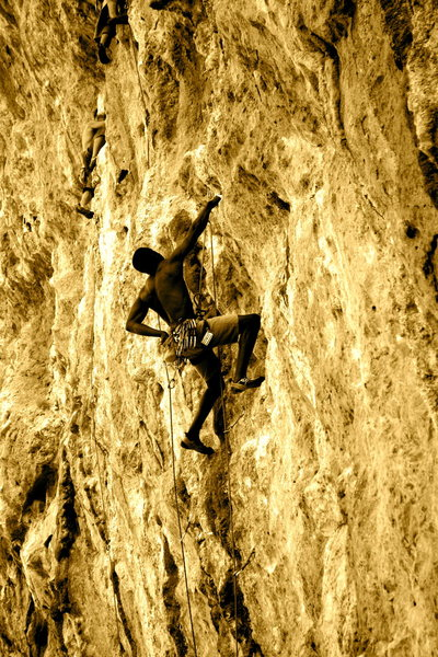 """Climbing up """"Feta"""" in the Odyssey sector."""