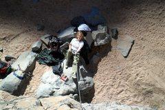 Rock Climbing Photo: Brenda belays from the ideal reclining rock.