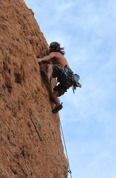 Rock Climbing Photo: Leading a unlisted 10b in Texas Canyon