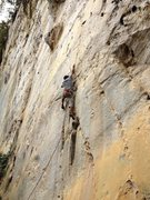 Rock Climbing Photo: Mackie walking the crux of White Flower on an atte...