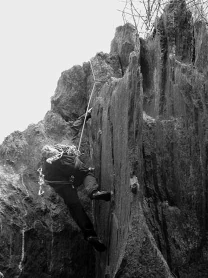Rock Climbing Photo: Moving onto the jutting flake
