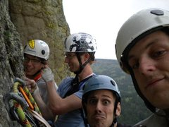 Rock Climbing Photo: On the top of the second pitch right before a hail...