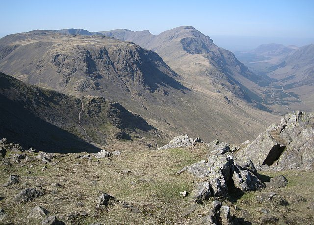 Rock Climbing Photo: Kirk Fell and Pillar. The Ennerdale Valley to the ...