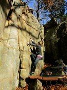 Rock Climbing Photo: Morgan at the start with a good shot of the climb.