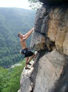 Rock Climbing Photo: Chris Egress near the anchors of Strike a Scowl