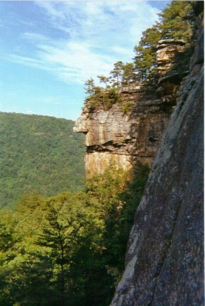 View of Idol Point from the Kaymoor Slabs.