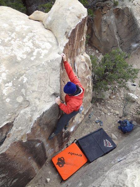 Rock Climbing Photo: Josh topping out Reading Rainbow