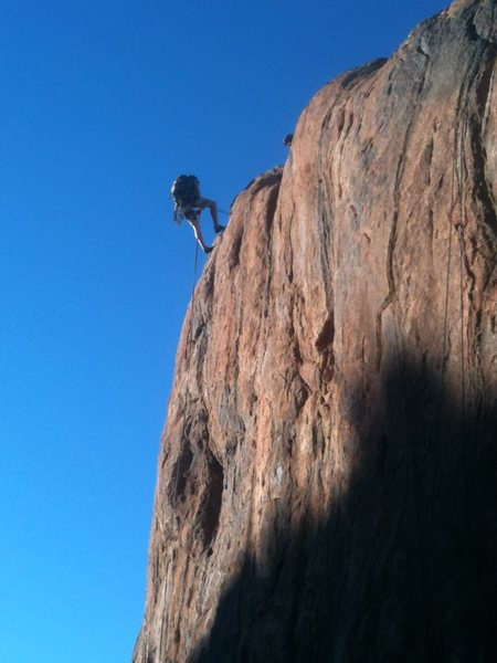 Rock Climbing Photo: Rapping down the left side of the south face