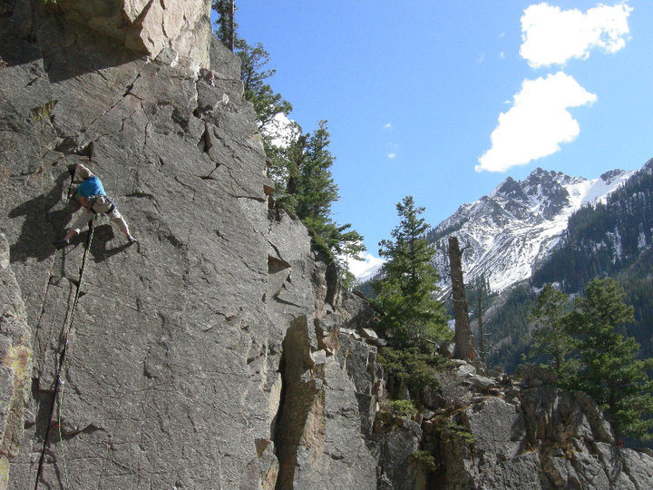 Jim Meyer leading on on of the funnest 5.7s around.  Super fun easy climb.