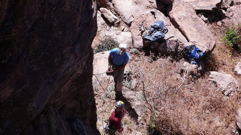 Geir ready to start, Jim belaying...