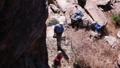 Rock Climbing Photo: Geir ready to start, Jim belaying...