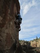 "Rock Climbing Photo: Scott dialing ""Dazed and Confused""."