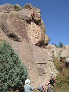"Rock Climbing Photo: High up on ""Copacetic""."