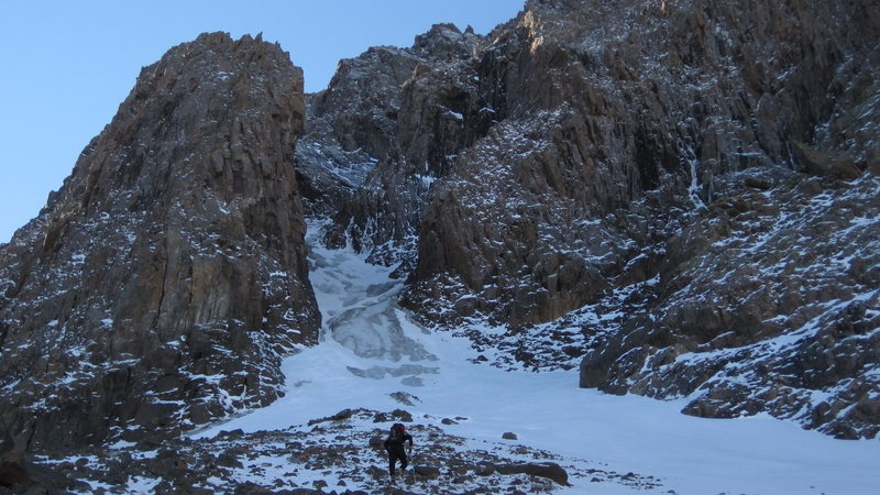 "Rock Climbing Photo: Base of the ""North Central Couloir"" WI/A..."