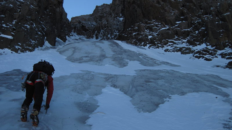 "Rock Climbing Photo: Starting up the ""North Central Couloir""."