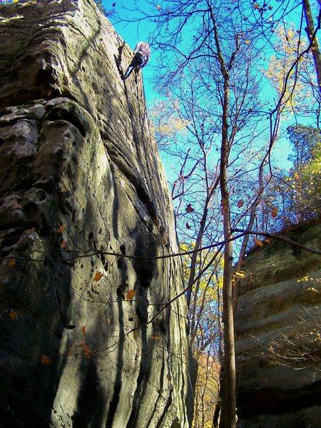 Climber on Stubborn Swede  Great climb