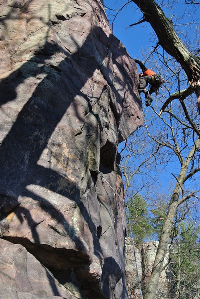Rock Climbing Photo: Kris Gorny action shot on the lead of Grand Inquis...