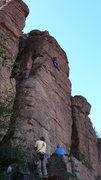 Rock Climbing Photo: Geir through the hard stuff. Jim belays and DAS ob...