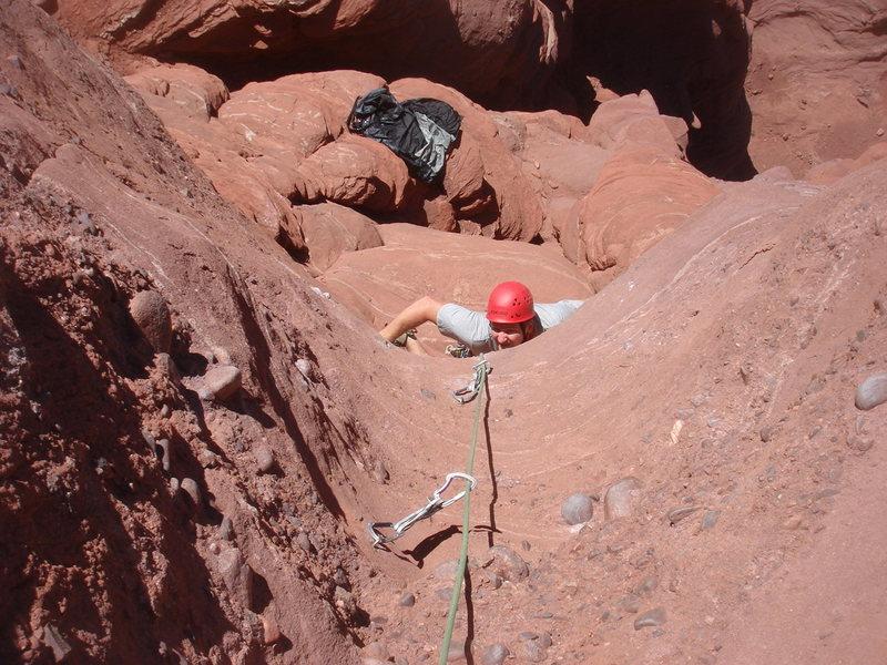 Rock Climbing Photo: Todd starting up P1.