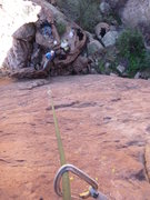 Rock Climbing Photo: Looking down from about halfway up the route.  The...