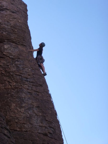 Rock Climbing Photo: Marcy near the top of the route