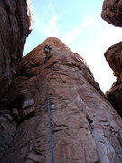Rock Climbing Photo: AMH getting into the delicate section. Note the lo...