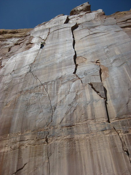 "Mike Swanicke on P1.  The crack to the right is really sustained at 7-9"" and is unclimbed."