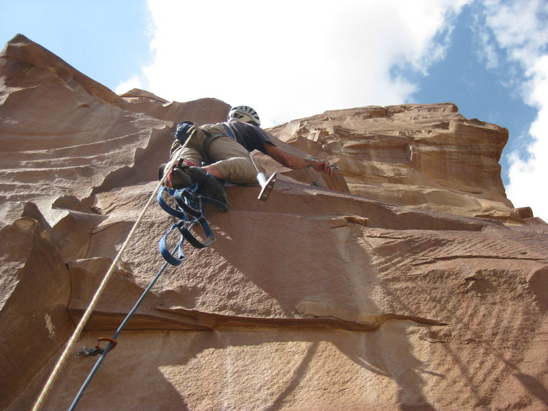 Rock Climbing Photo: Mike wrenching the third bolt on P3.  Above this i...