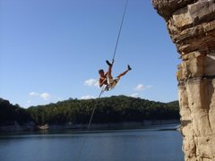Rock Climbing Photo: Just having fun on Wendy's Jugs. Summersville lake...