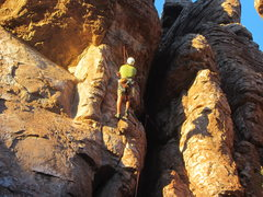 Rock Climbing Photo: Tryin to figure out the crux before sunset