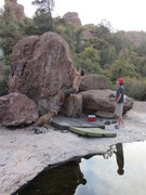 Rock Climbing Photo: Bouldering in the creekbed